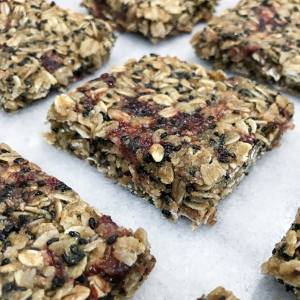 Strawberry Black Sesame Granola Bars