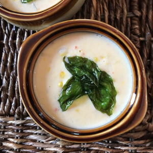 Corn Chowder with Fried Basil