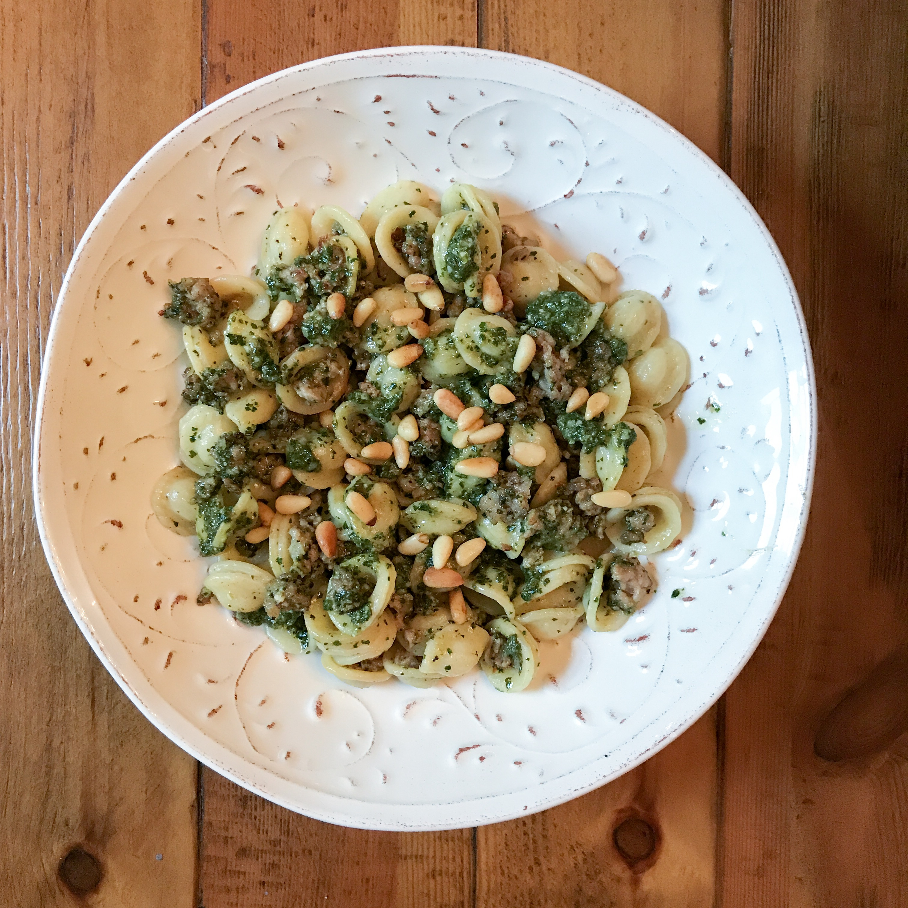 Orechiette with Pesto and Crumbled Sausage