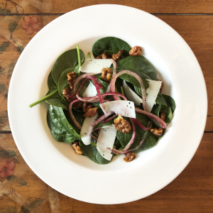 Spinach Salad with Red Onion, Manchego, and Walnuts
